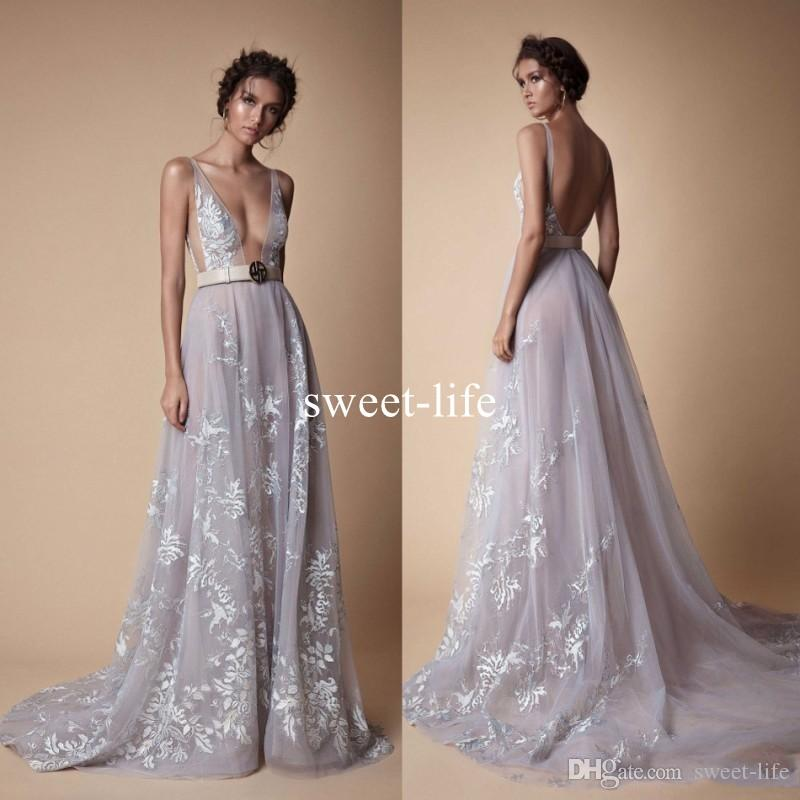 Berta Bride 2018 Sexy Beach Backless Wedding Dresses Deep V Neck Lace Appliqued Boho Bridal Gowns Tulle Sweep Train Custom Made Bridal Gowns