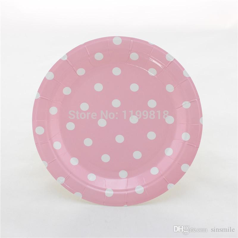 Online Cheap Wholesale Pink Polka Dot Paper Plates For Party Holiday Favor Supplies By Sinsmile | Dhgate.Com & Online Cheap Wholesale Pink Polka Dot Paper Plates For Party Holiday ...