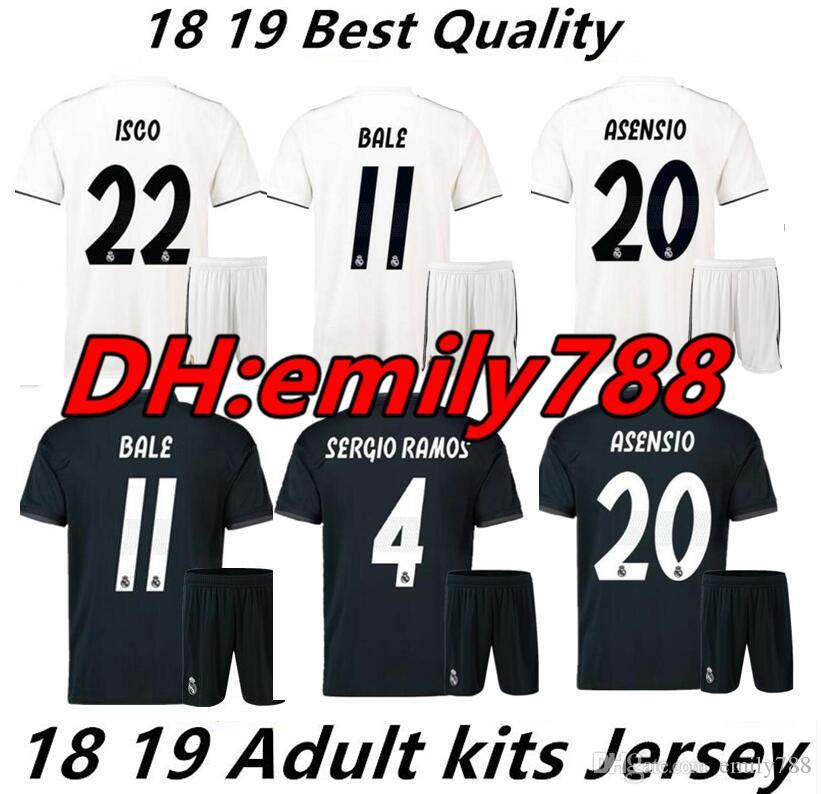 73bf3b07d15 2019 2019 New Real Madrid Soccer Jersey Men Kits 2018 MORATA MARCELO SERGIO  RAMOS KROOS BENZEMA ISCO SUAREZ Men Football Shirt From Emily788