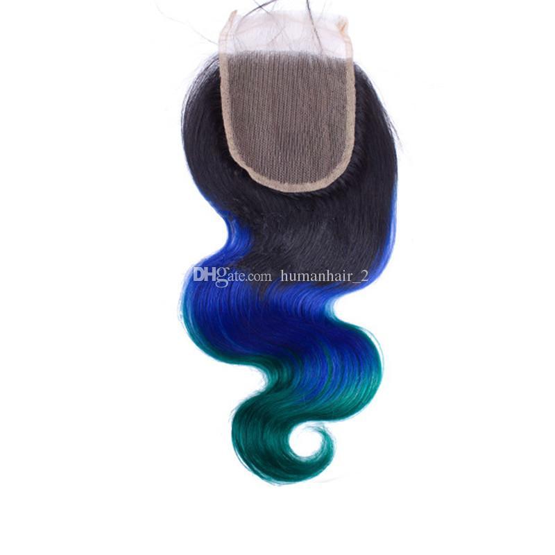 İnsan saç atkı 1b mavi yeşil saç demetleri dantel kapatma vücut dalga koyu kök saç demetleri 3 adet dantel kapatma 4x4