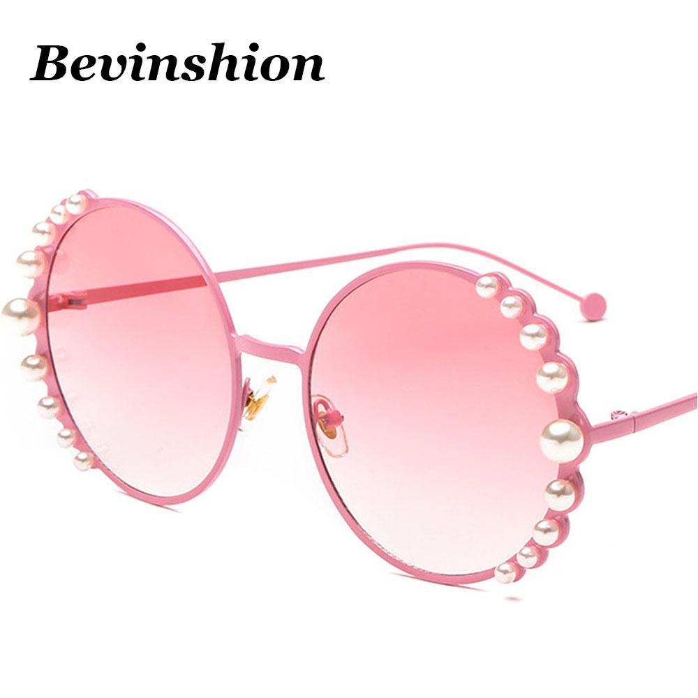 bd2e7e1bb4df Luxury Brand Round Sunglasses Women Pearl Mosaic High Quality Grill Paint  Oversize Sun Glasses Female Party Travel Pink Purple Retro Sunglasses  Baseball ...
