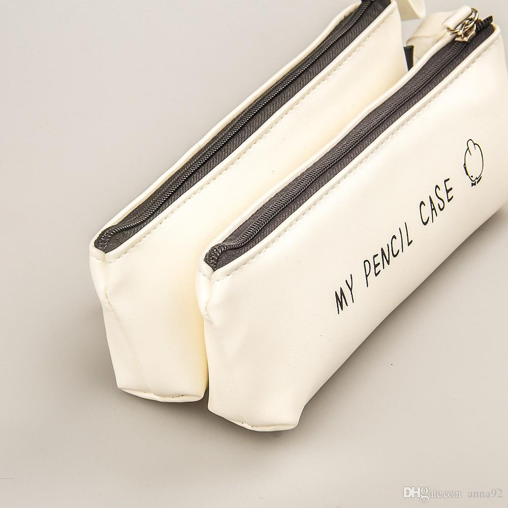 Best Deal Pencil Case Classical Black And White Color Waterproof PU Leather Pencil Cases Korea Stationery Pencil Bag 2018 new