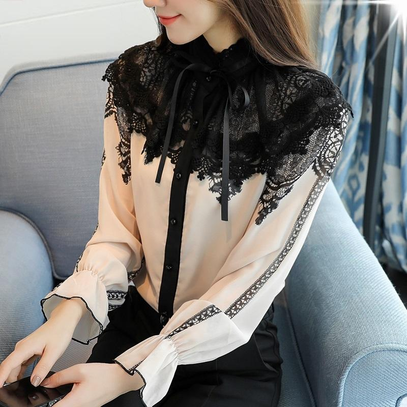 a2bd9cec1f8acc 2017 Autumn Long Flare Sleeve Stand Collar Bow Tie Chiffon Shirts Women  Elegant Vintage Lace Patchwork Chiffon Blouses Tops Online with  $47.26/Piece on ...