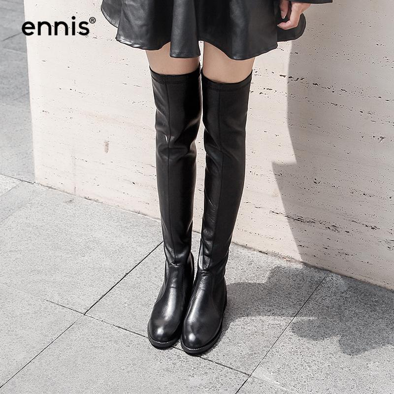 ENNIS 2017 Over-The-Knee Boots Flat Black Women Stretch Knee High Leather Boots Round Toe Fashion Back Zipper Shoes Autumn L763