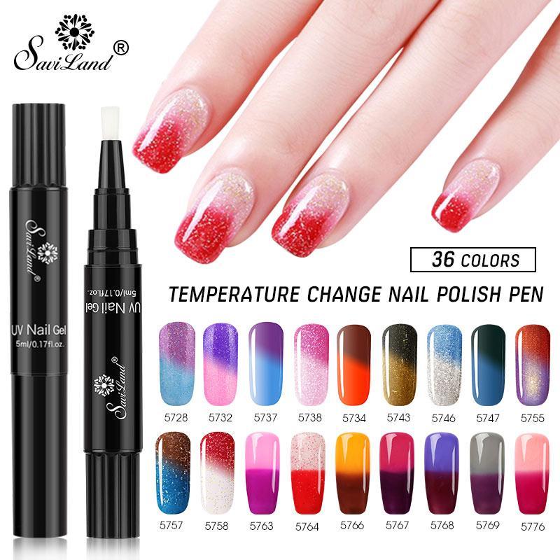 Saviland Newest Thermal Temperature Change Color Pen Nail Gel Polish ...