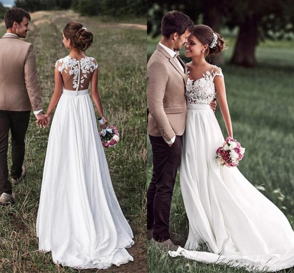 Großhandel Landhausstil Eine Linie Brautkleider Romantische Flügelärmel  Appliques Chiffon 20 Lange Brautkleider Strand Günstige Von