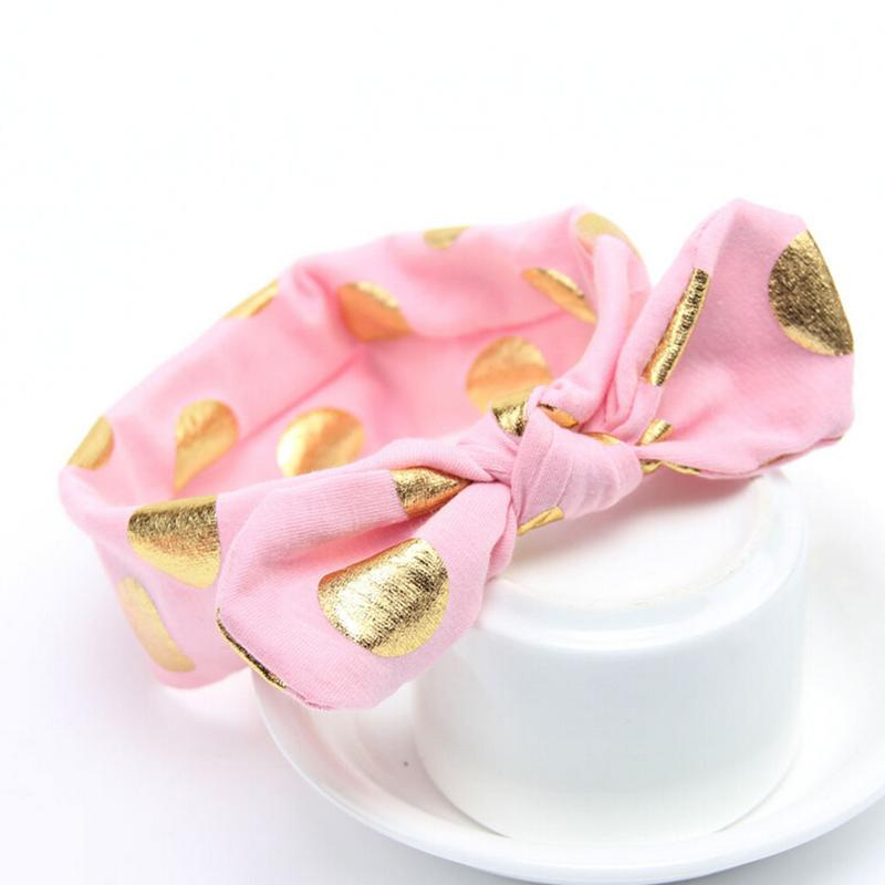 1 Stück Gold Polka Dots Neugeborenen Baumwolle Stirnband Mädchen verknotet Bogen Kopf Wraps Sommer Haarbänder Stirnband Kinder Haarschmuck