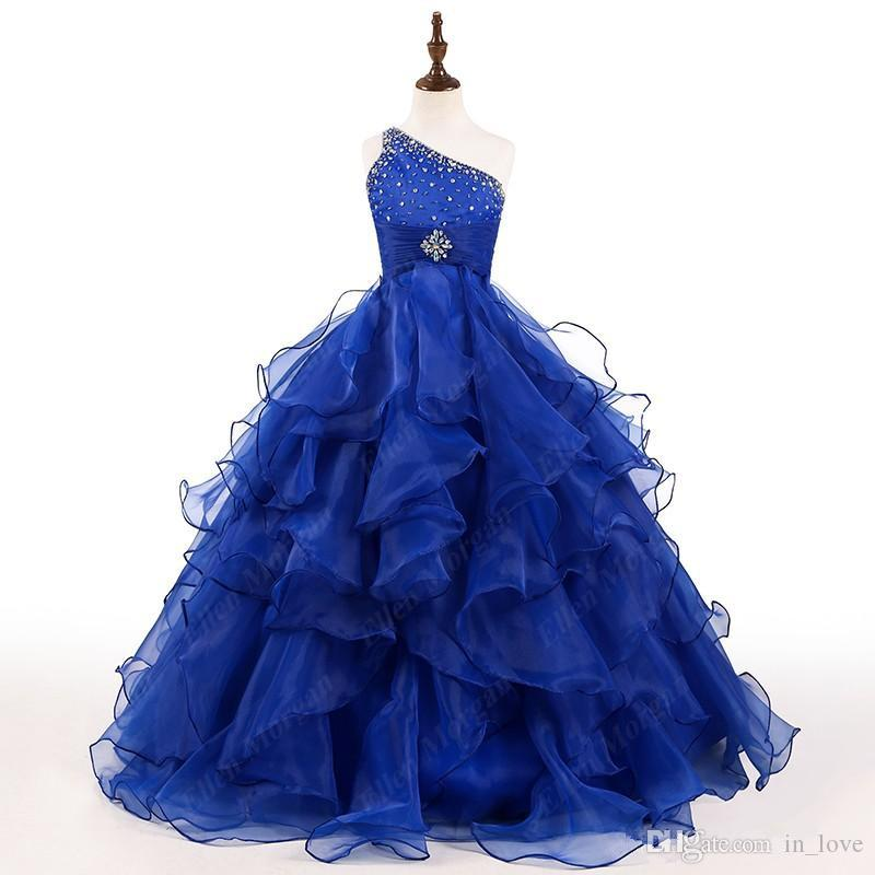 Kraliyet Mavi Kızlar Pageant Elbise Bir Omuz Kristaller Boncuk Ruffles Organze Balo Kızlar Doğum Günü Partisi Törenlerinde Özel Boyut
