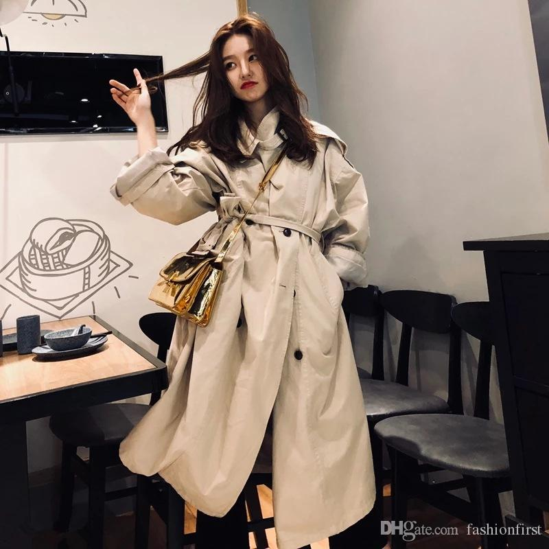 51f990481 2019 Autumn Trench Coat With Belt Windbreaker Loose Oversize Long ...