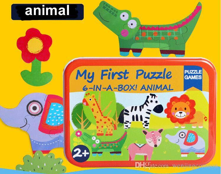 New Baby Toys 6 In 1 Puzzles Set Iron Box Total 6 Puzzles Wooden Toys Cartoon Animal/ Vehicle Wooden Toys Child Educational Gift