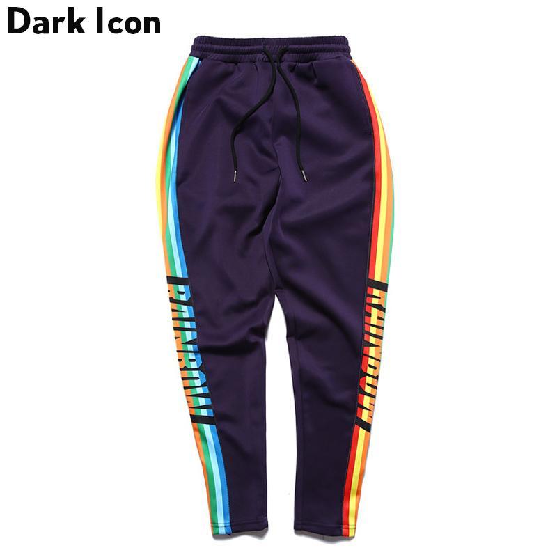 4c685805 Colorful Side Patchwork Hip Hop Pants Men 2017 Nueva Moda elástico con  cordón de los hombres pantalones negro púrpura Y1892811