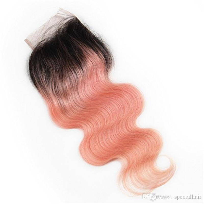 # 1B / Rose Gold Ombre brasileña virgen paquetes de cabello humano con cierre Body Wave Ombre Pink 4x4 cierre frontal de encaje con tejidos extensiones
