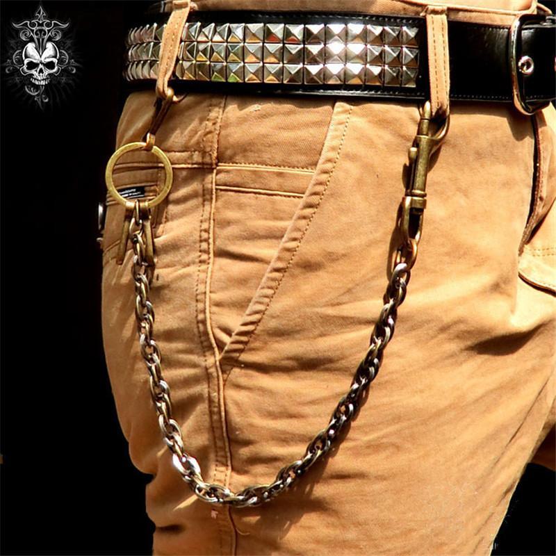 acef7cc16 Compre Punk Hip Hop Cinturón De Metal Cinturón De Cintura Pantalones  Masculinos Monedero Cadena Estilo Gótico Mujeres Hombres Jeans Accesorios  De Ropa De ...