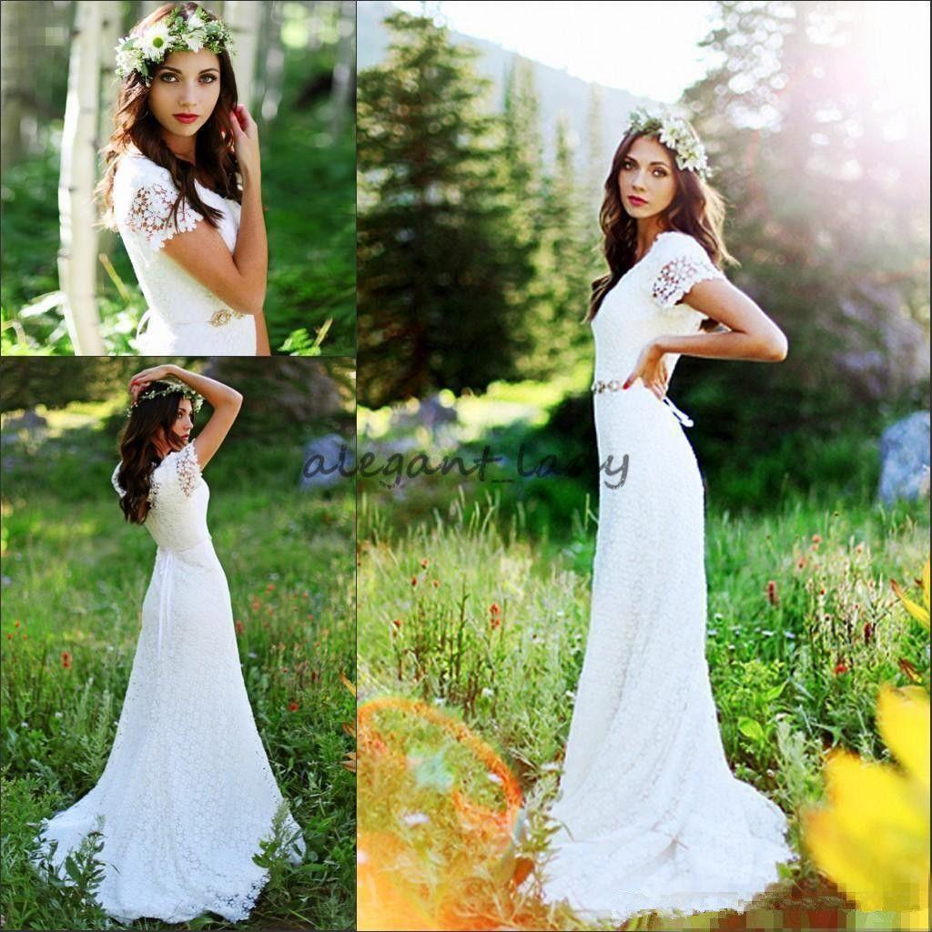 Vintage Country Crochet Lace A-line Wedding Dresses with Beaded Belt Modest Cap Sleeve Bohemian Cheap Modest Bridal Dress