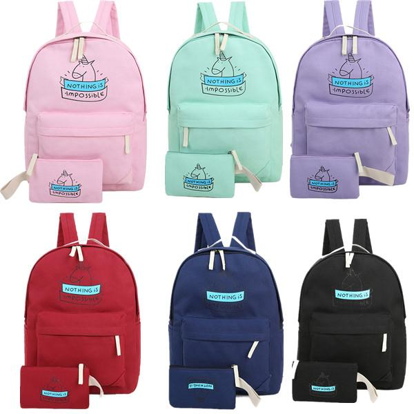 Women Canvas Backpack Fashion Cute Travel Bags Cartoon Unicorn Printing Bags  Laptop School Backpack For Teenage Girls One Strap Backpack Backpacking ... c40491bf755cf