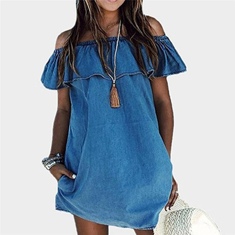 c966274b07e5 2018 Off Shoulder Ruffle Short Sleeve Summer Beach Dress Women Blue Slash  Neck Casual Straight Dresses Long Dress Striped Light Purple Dresses For  Juniors ...
