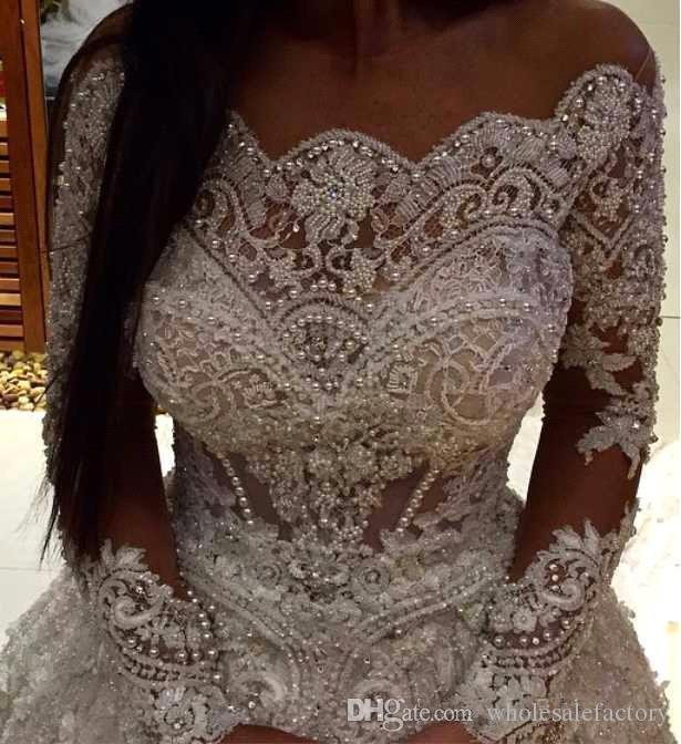 Elegancka Zima Bateau Neck Sheer Długie Rękawy Koronki Suknie Balowe Suknie Ślubne Zroszony Perły Kaplica Wedding Suknie ślubne