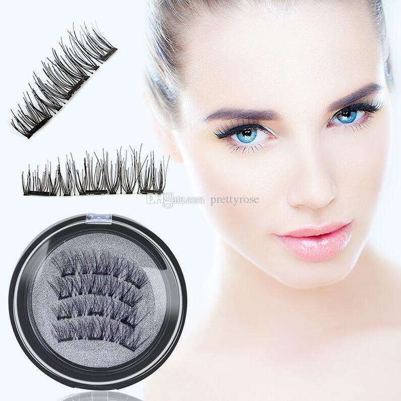 3D 3 Ciglia Finte Magnetiche Bellezza Naturale Full Strip Magnete Estensione Dei Capelli Ciglia Finte Make Up Set New Hot 4 pz / set