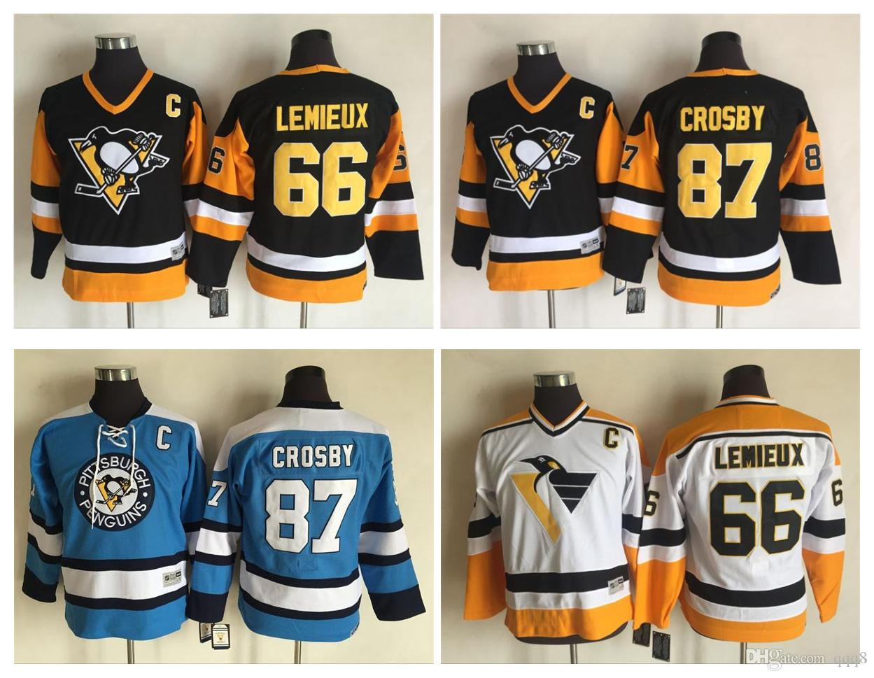 cff4b3f13 Youth CCM Retro Pittsburgh Penguins Jerseys 66 Mario Lemieux Kids 87 Sidney  Crosby Boys Vintage Hockey Jerseys UK 2019 From Qqq8