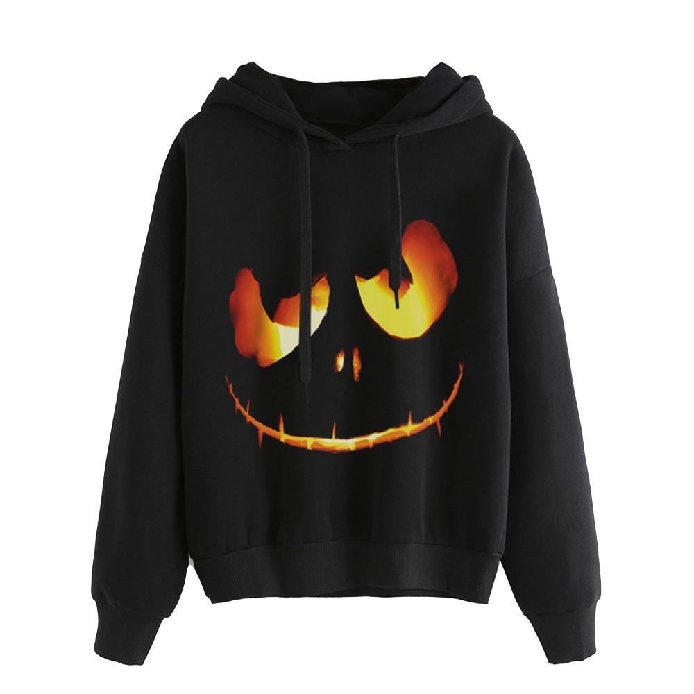 e252a8078b2 2019 Hoodies Sweatshirts Women 2018 Halloween Pumpkin Devil Plus Size 5XL  Long Sleeve Pullover Female Sweatshirt From Lixlon09