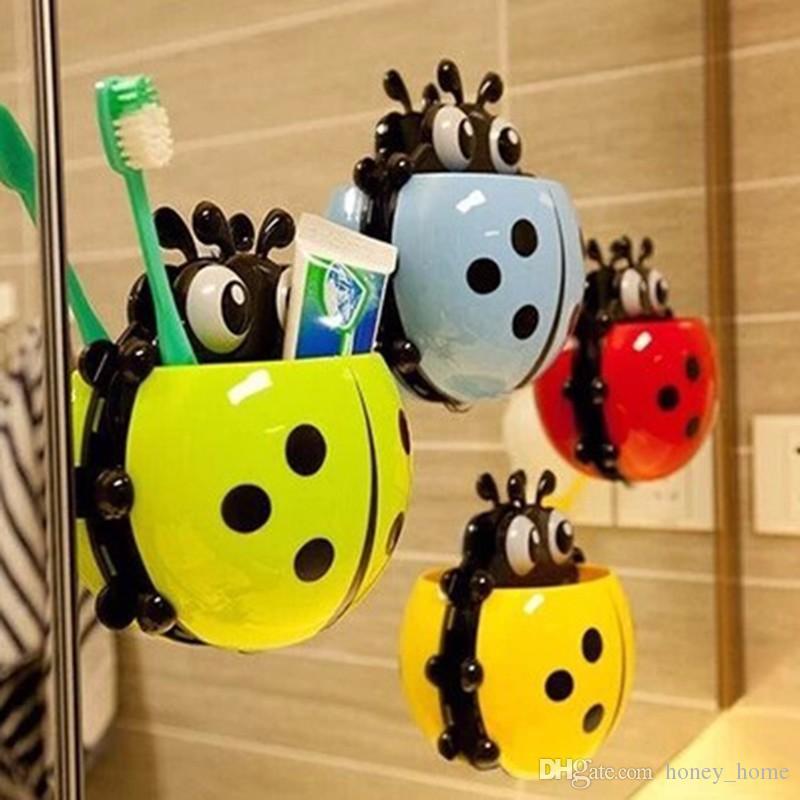 Cute Ladybug Insect Toothbrush Wall Suction Bathroom Sets Cartoon Sucker Toothbrush Holder / Suction Hooks Bathroom Racks