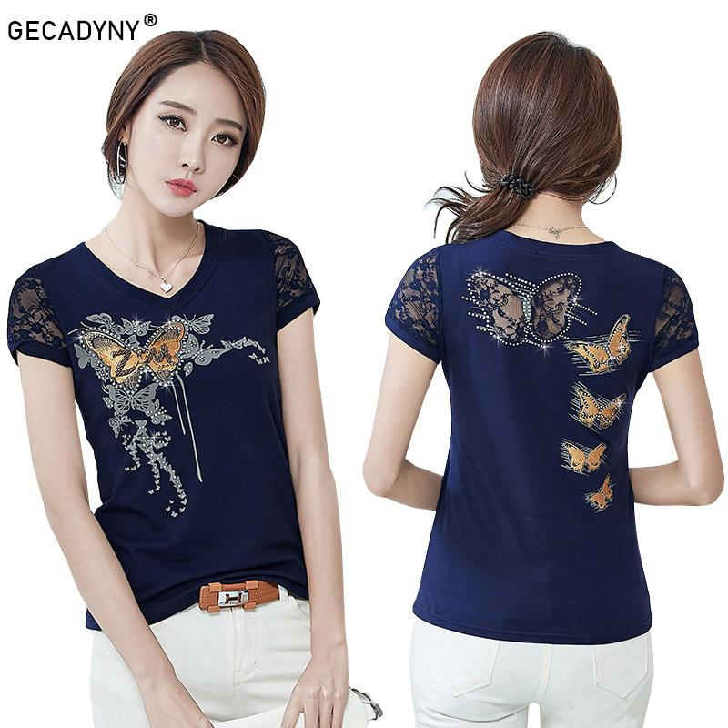 4c3fb84d7d 2018 Summer T-shirt Women Lace Short Sleeve T Shirts Female Flower Print  Hollow Hot Drilling Harajuku Tops Plus Size M-4XL Y1891306