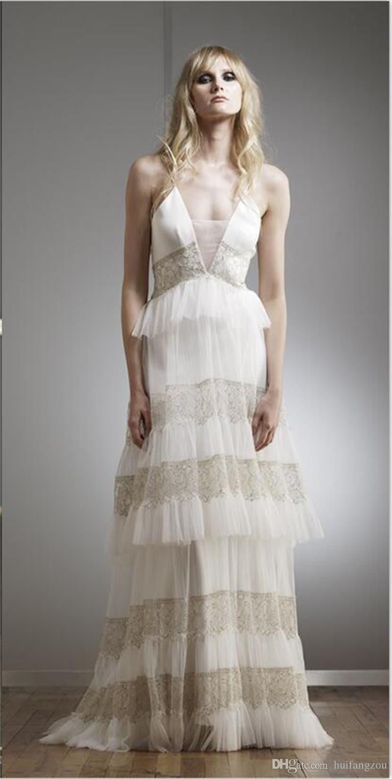 Frühling Böhmen Brautkleider tiefem V-Ausschnitt Spitze Applique Tiered Boden Länge Illusion Beach Boho Hochzeitskleid Brautkleider nach Maß