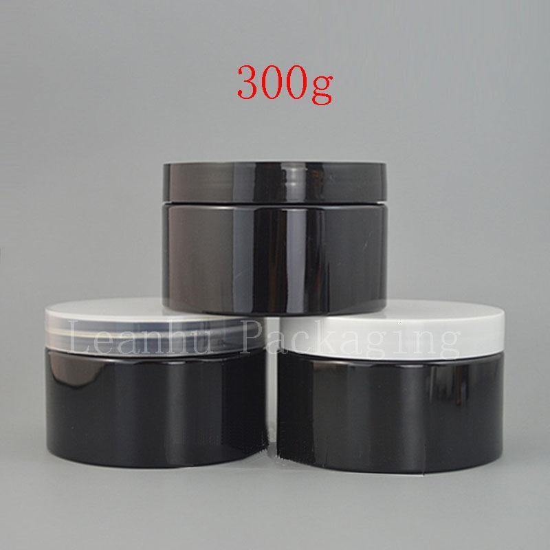 300g black jar with plastic lid