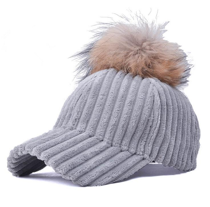 2017 Fashion Women Faux Fur Pom Pom Corduroy Baseball Cap Curved Brim Hip  Hop Caps Snapback Hats For Women Richardson Hats Headwear From Xiacao b375202f420