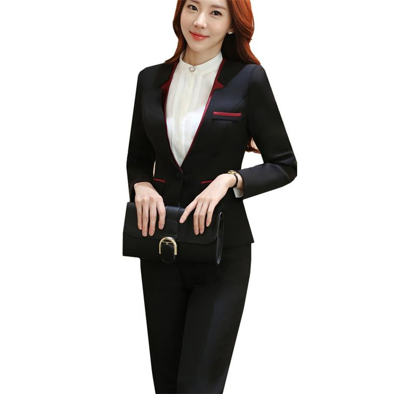 f2cee55964890 Suit Women Pantsuit Patchwork Double Collar Slim Polyester Women s Business  Suits Two-piece Sets Autumn Spring Winter Clothing
