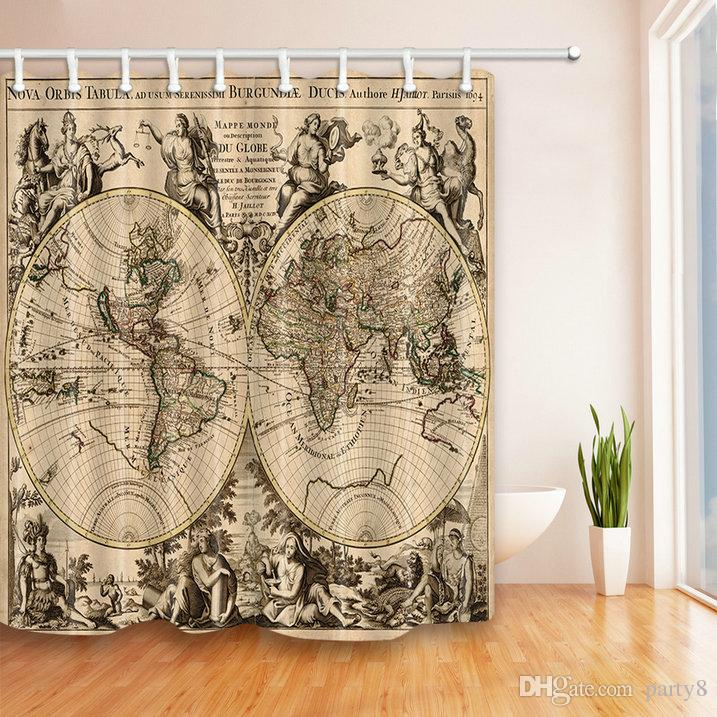 2019 Retro Round World Map Shower Curtains 69 X 70 In Polyester Fabric Waterproof Mildew Perfect Home Bathroom Supplies Hanging Curtain Cheap From Party8