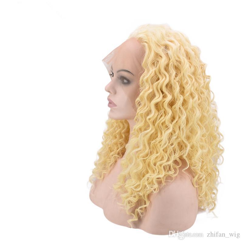 ZF Sarışın Dantel Ön Peruk Derin Dalga Sentetik Dantel Ön Peruk İnsan Doğa Saç ile Siyah Kadınlar Için