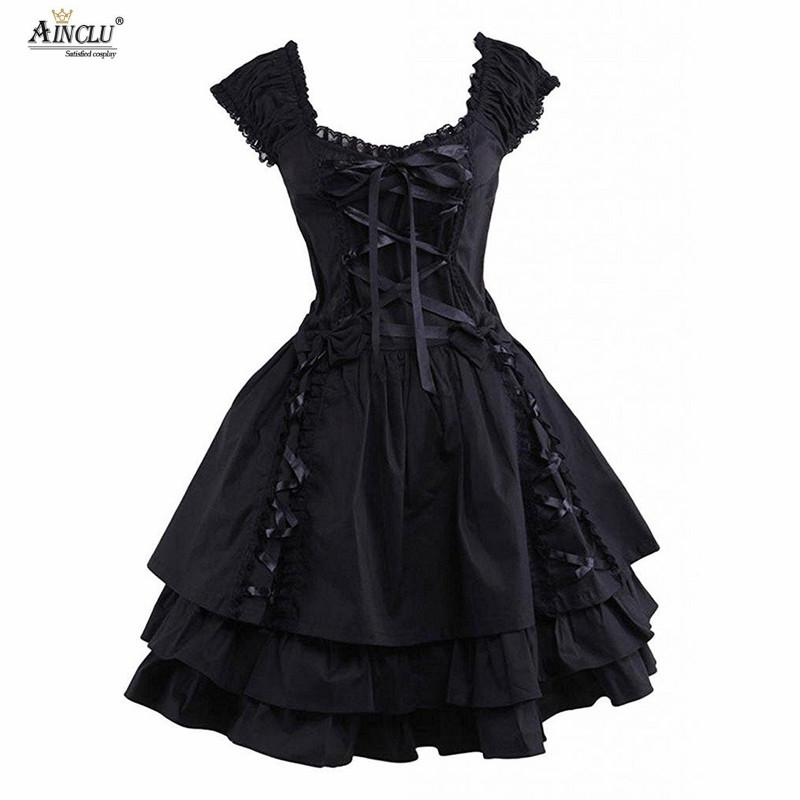 Womens Classic Lolita Dress Hot Gothic Black Layered Lace Up Cotton Short  Sleeves Cosplay Costumes Lolita Dress Party Halloween Best Costume Themes  Costume ... 3d17c79f1a