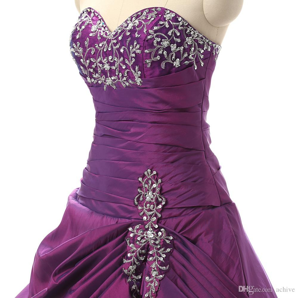 Real Beaded Embroidery Purple Quinceanera Dresses Ball Gown Corset Taffeta Masquerade Debutante Gowns Sexy Sweet 15 Dresses 2018