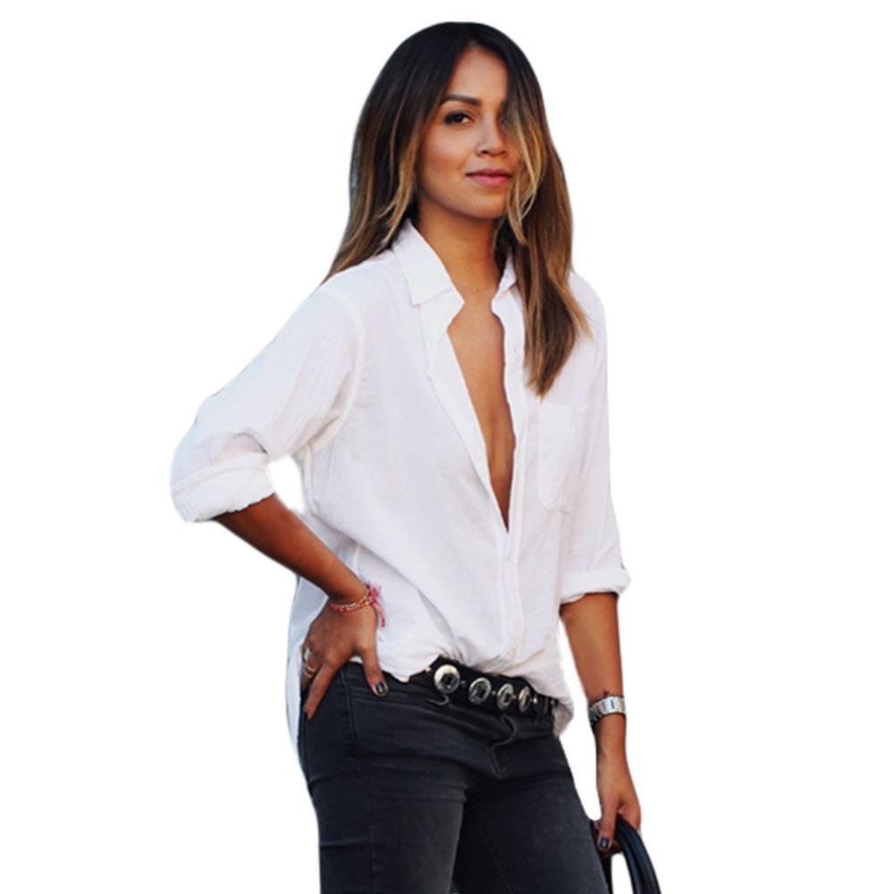 2017 Colletto Bianca Acquista Moda Camicia Donne Giù Autunno Girano H29IED