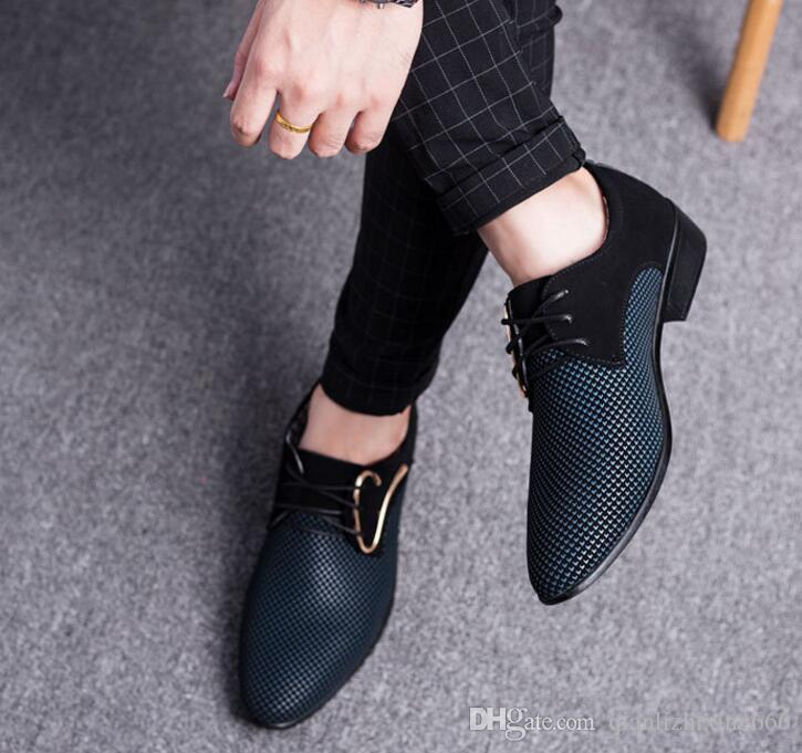 New Mens Leather Shoes Large Size Korean Version Of The Pointed Male Shoes Business Dress Casual Shoes Men's Shoes Shoes