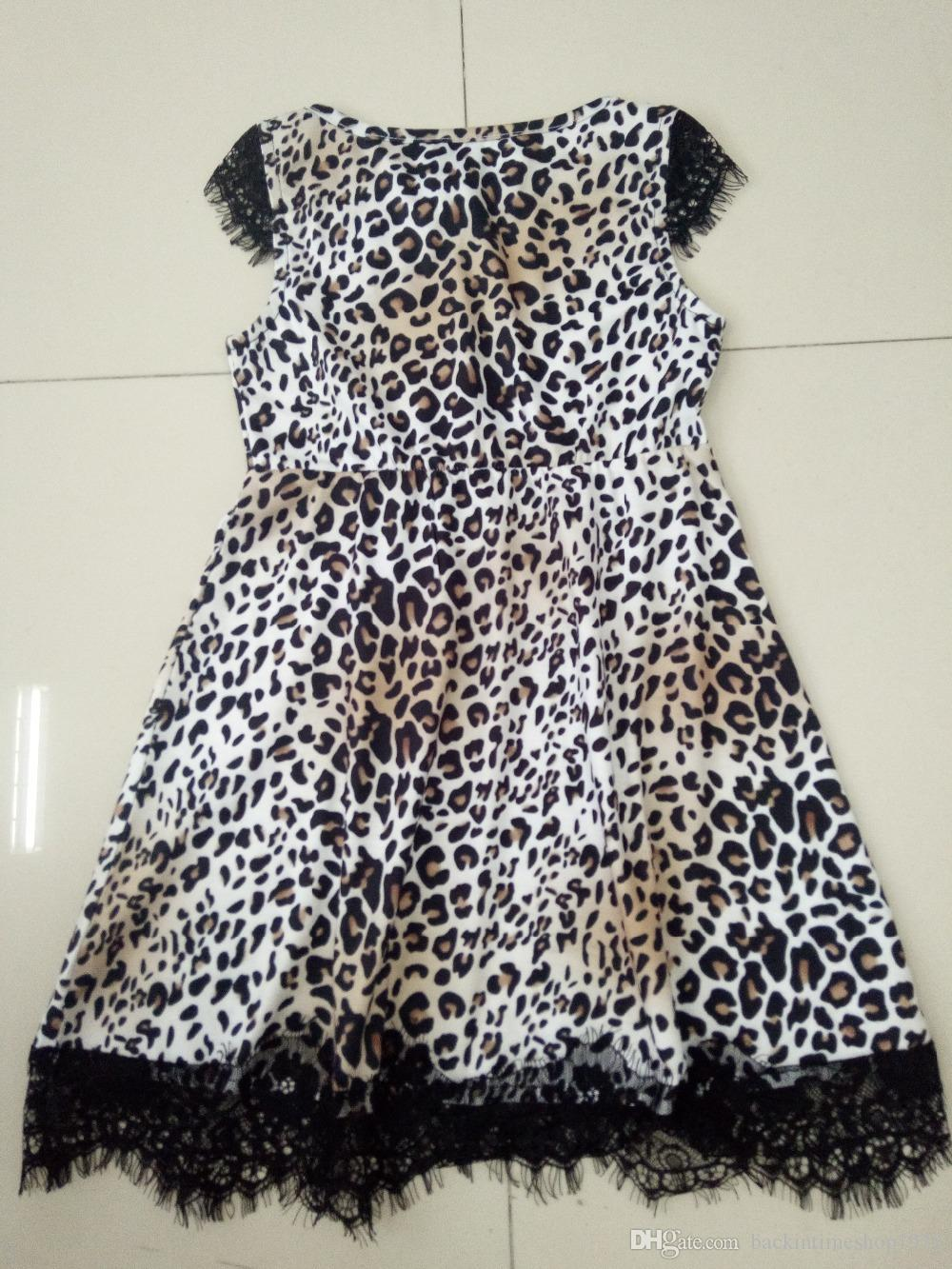 Fashion Leopard Mum And Me Dress Summer Family Matching Outfit Girls Printing Sexy Lady Dress Family Look
