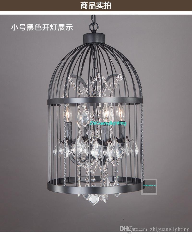 American country industrial wind wrought iron crystal bird cage chandelier Nordic retro restaurant clothing store stairs bar lamps