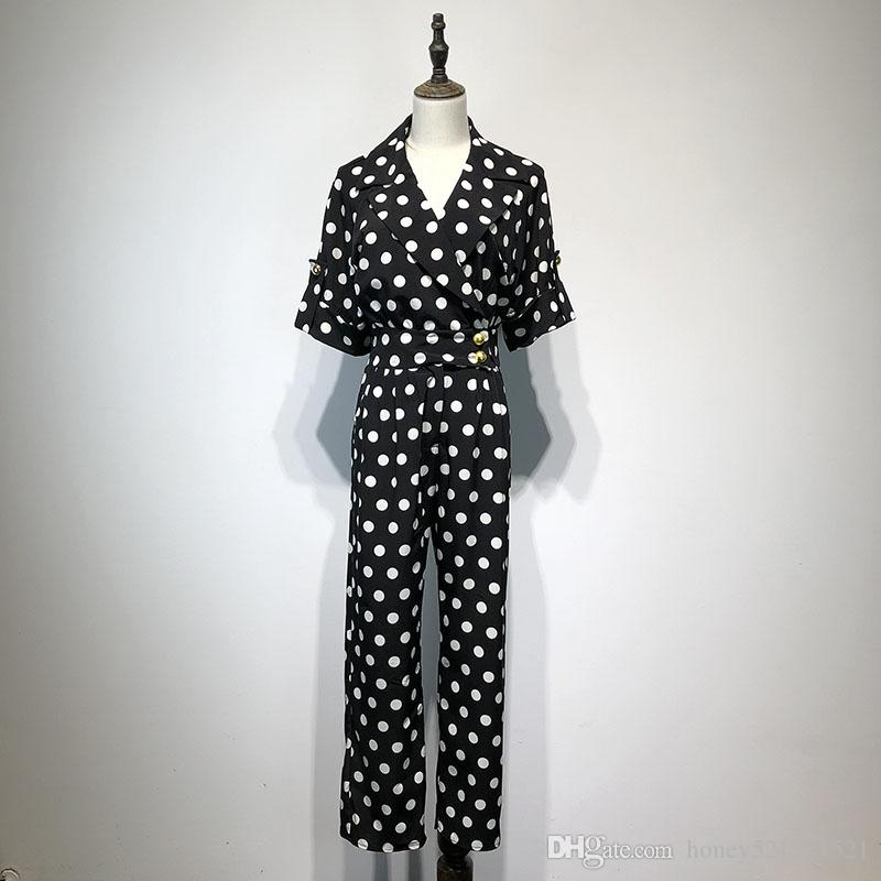 New european design fashion women's turn down collar short sleeve black white dotted polka dots high waist long pants jumpsuit rompers