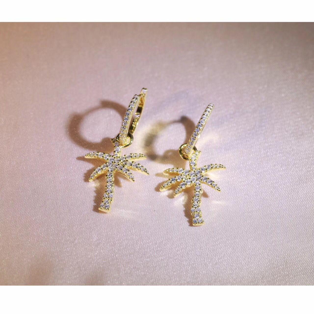 925 فضة الأزياء بسيط المرأة جوز الهند شجرة النخيل استرخى القرط إسقاط أقراط الصيف عطلة هاواي حلق مجوهرات الانجليزية قفل