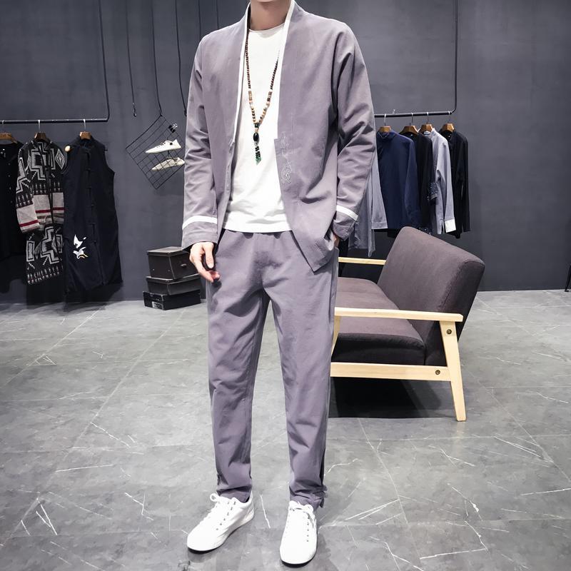 a0f902bb32ad2a Großhandel Männer Sätze Hemd + Hose Long Sleeve Freizeithemd Strickjacke  Jacke Male Fashion New Chinesischen Stil Shirt Hose Von Edward03