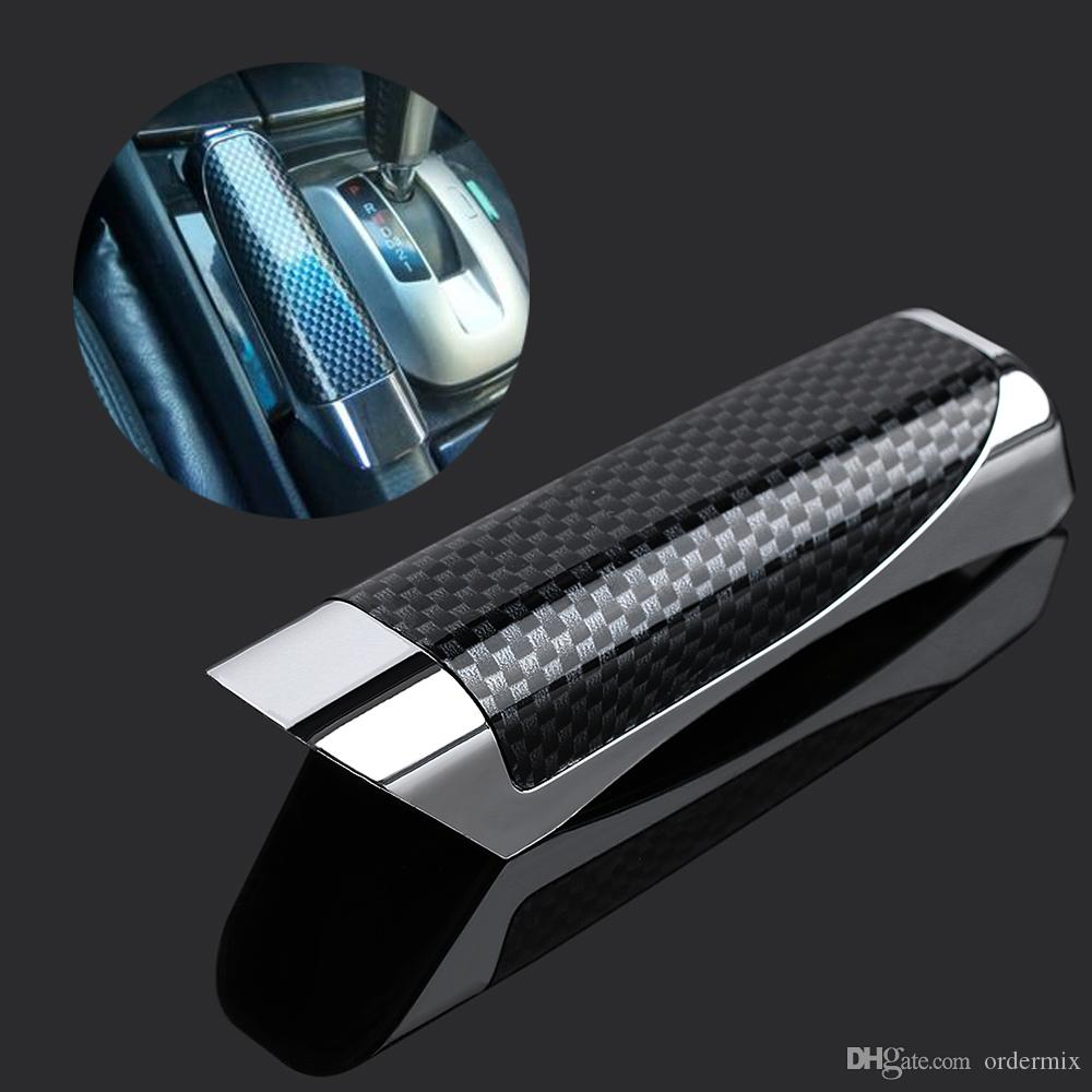 1 قطع جديد العالمي اليد الفرامل حامي الديكور غطاء ألياف الكربون اليد الفرامل حامي سيارة التبعي
