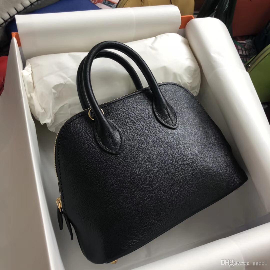 d90995215 Compre 2018 Novo H Pele De Cabra 100% Handmade Mini Bolide Mulheres Bolsa  Tote Bag 7A Melhor Qualidade Mão Costura Senhora Moda Bolsa De Ombro Livre  Compras ...