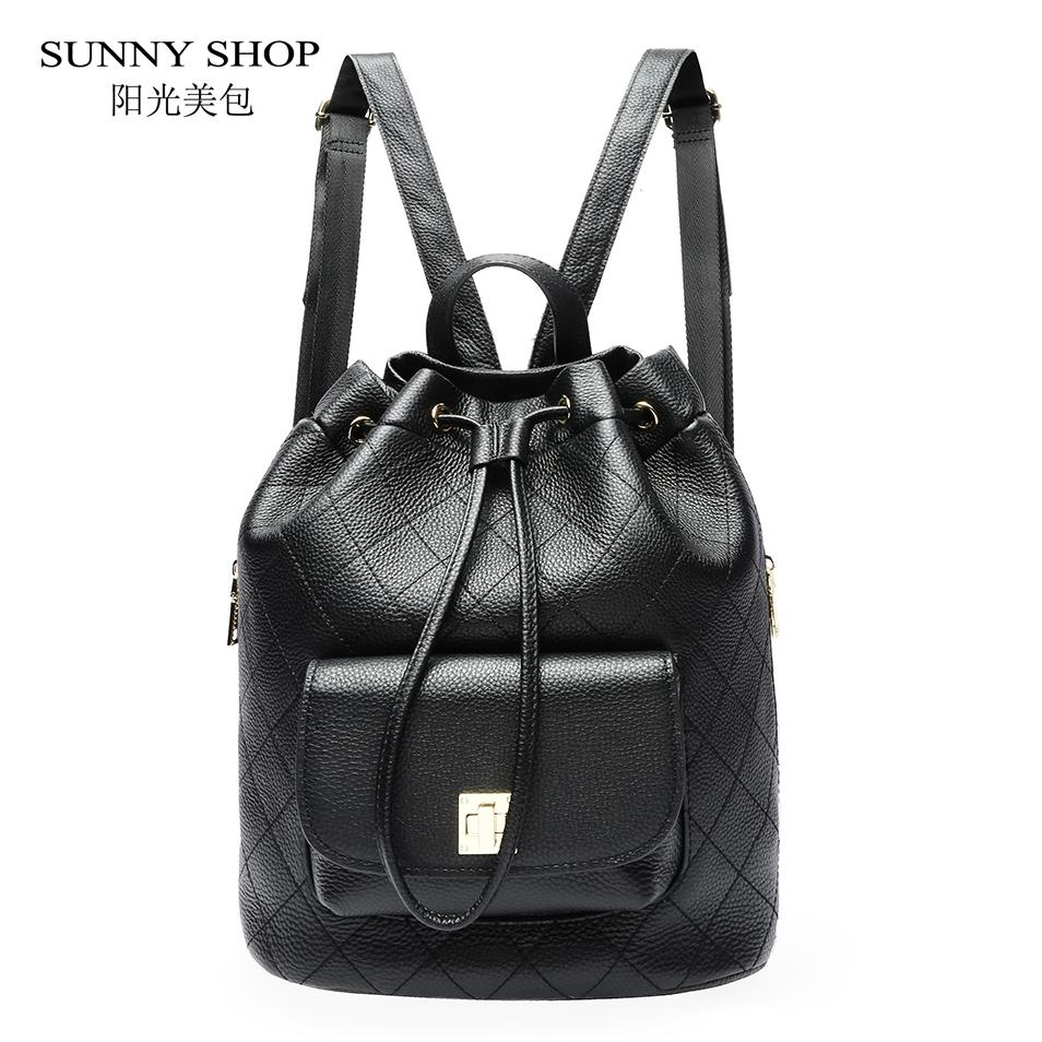 334b148f0e Luxury 100% Full Grain Genuine Leather Backpack Purse Women Plaid  Drawstring Bagpack Back To School Bag College Bucket Daypack Backpacks  Cheap Backpacks ...