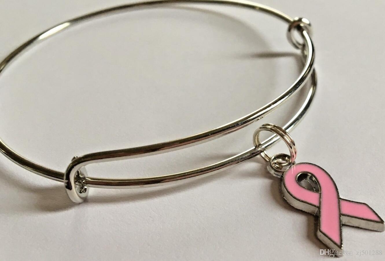 cancer bangle breast Silver bracelet