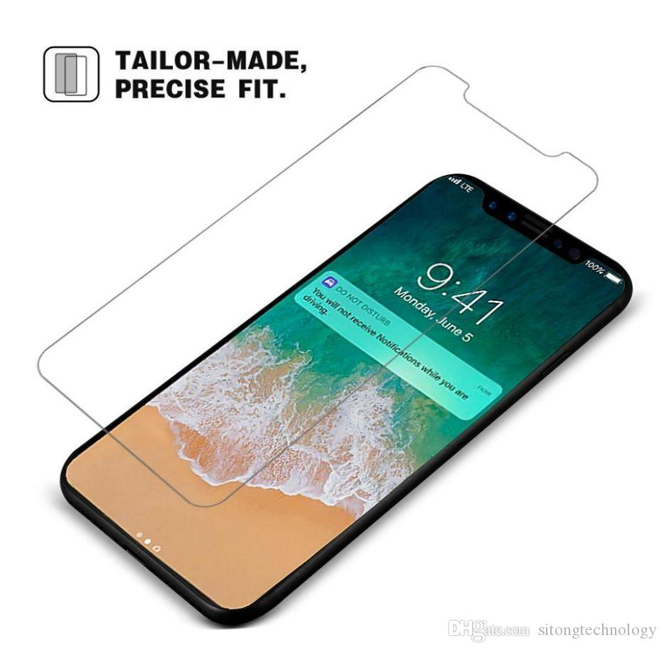 Pour iPhone XS Max en verre trempé Protecteur d'écran pour Iphone XR X 8 7 6Samsung Edition Film 0.33mm 2.5D 9H Anti-Shatter Paper Package