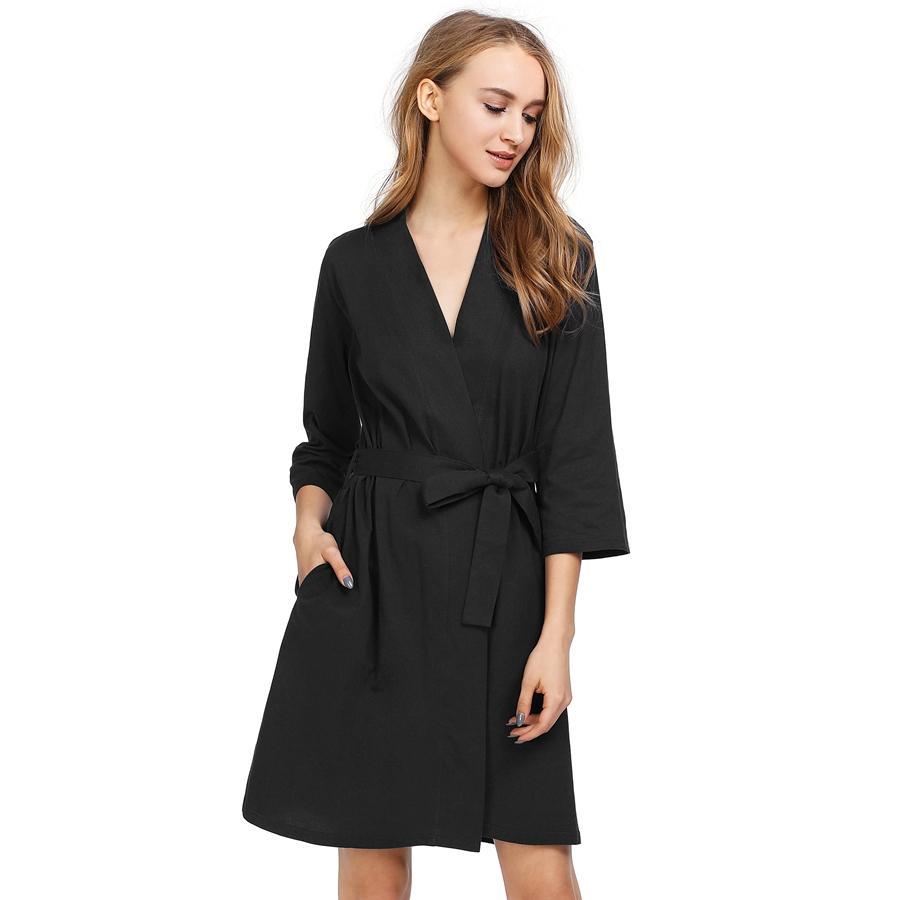 782a0adb Batas de dormir para mujeres 3/4 Bata de casa para mujer Homewear Larga de  algodón Equipo de dama de honor Kimono Tejer batas de baño para mujeres ...