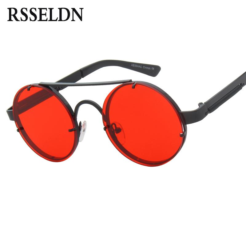 a7d3268639 RSSELDN New Steampunk Sunglasses Men Brand Designer Fashion Round ...
