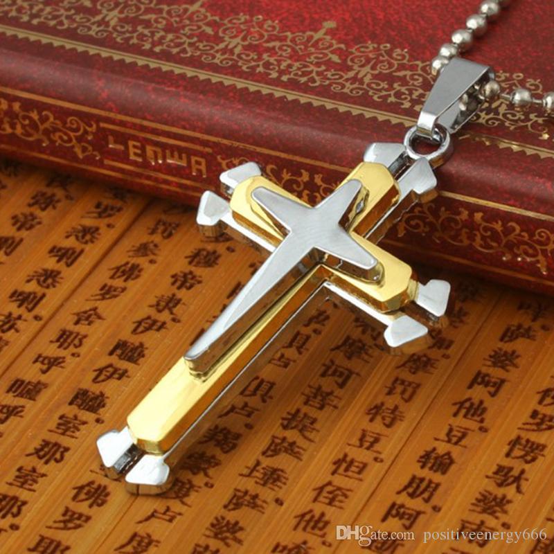 Mode Femmes Hommes Acier Inoxydable Croix Pendentifs Collier Chaîne Titanium Bijoux Religieux Latine De Noël Punk Classique Cadeau Accessoires