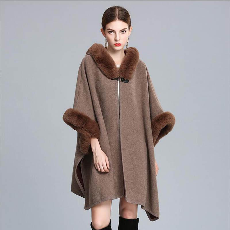 Grado superior de las mujeres de lujo del mantón de piel sintética ponchos con capucha otoño invierno grueso caliente outwear